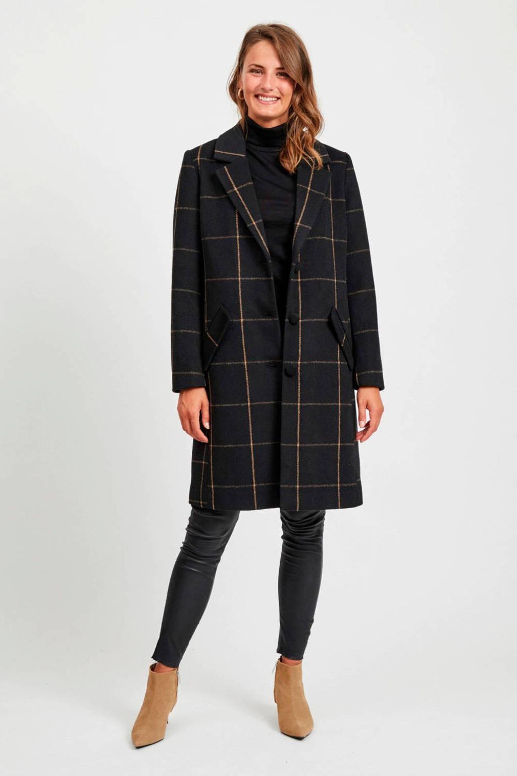 VILA geruite coat zwart, Zwart