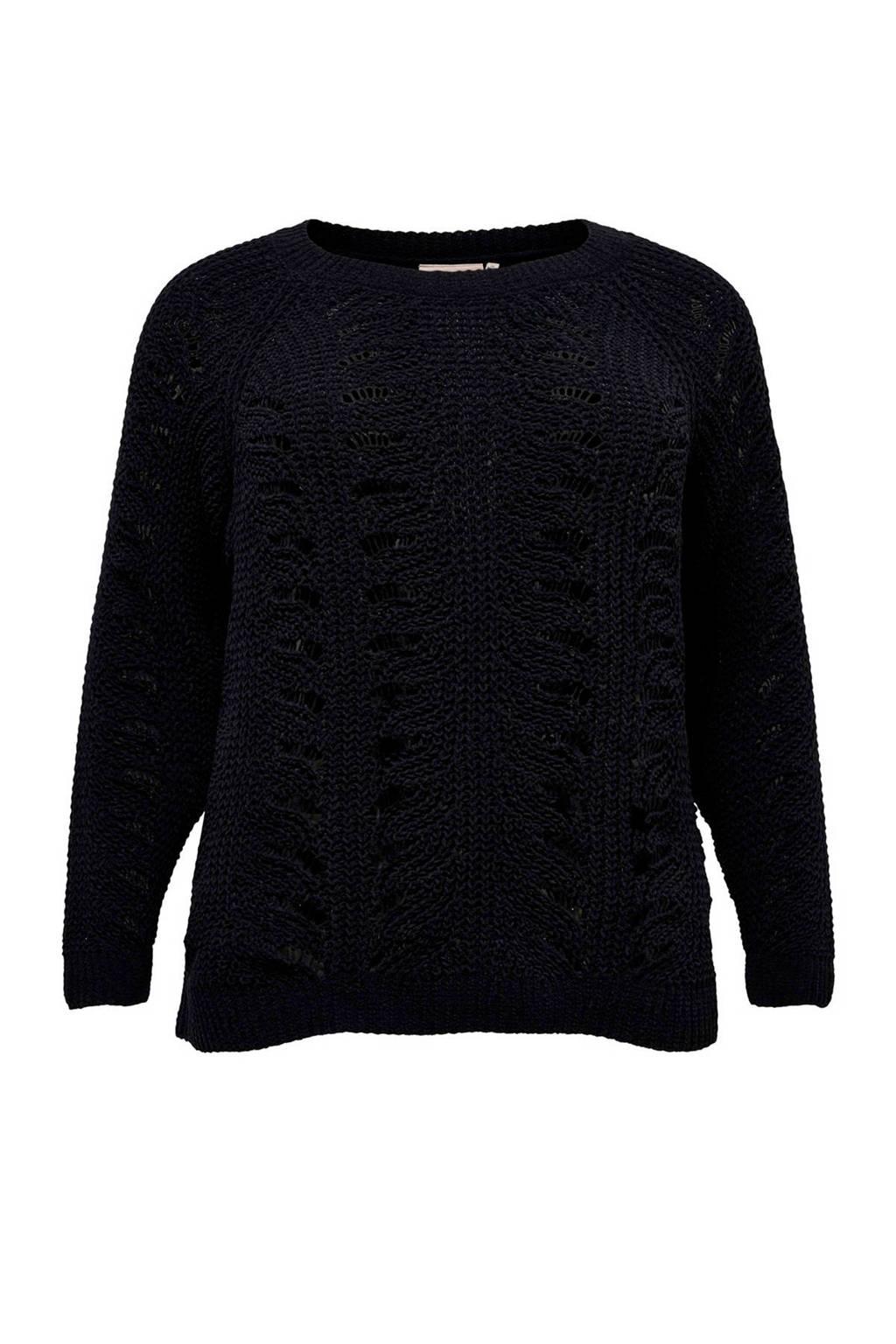 ONLY CARMAKOMA grofgebreide trui zwart, Zwart