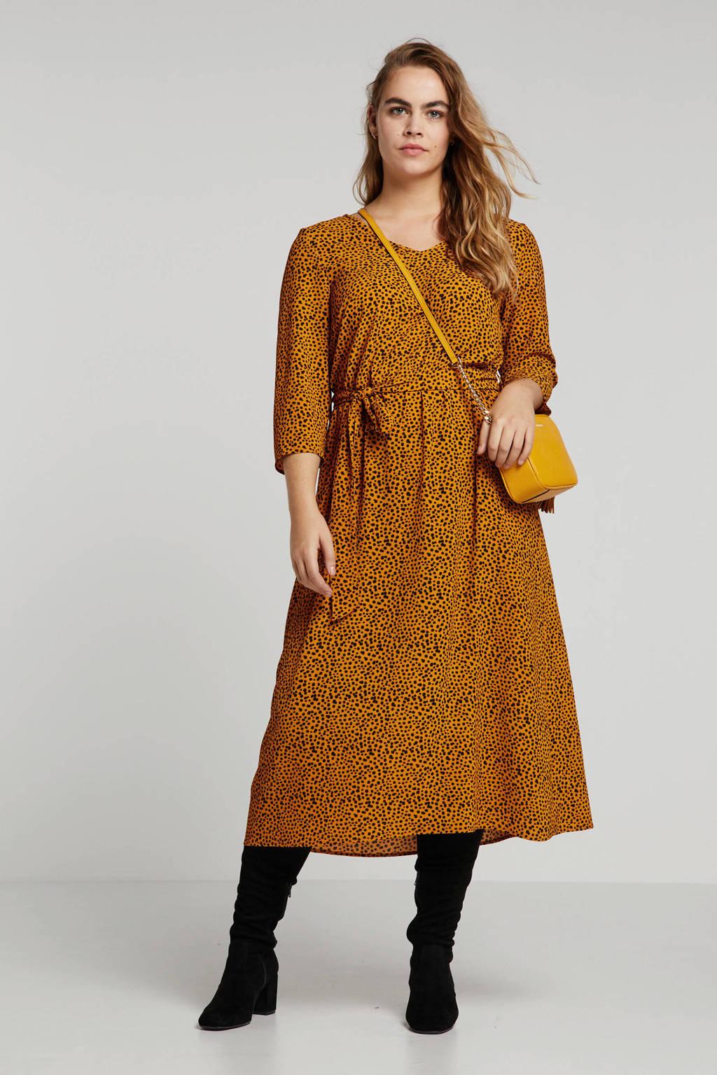 ONLY carmakoma jurk met dierenprint goud, Goud