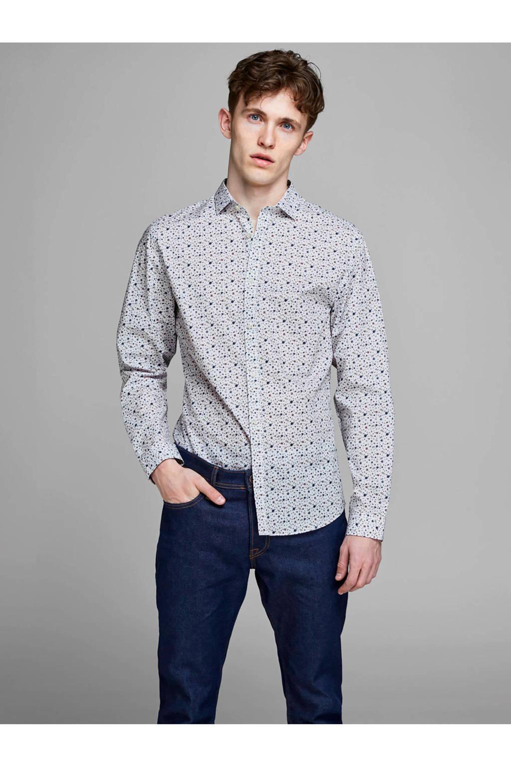 JACK & JONES PREMIUM slim fit overhemd met all over print, Wit/blauw