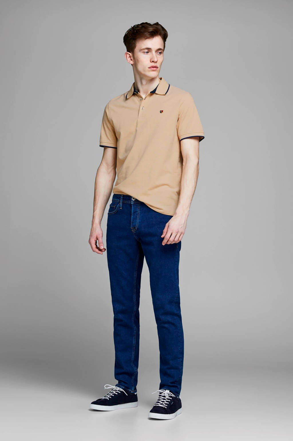 JACK & JONES PREMIUM gemêleerde slim fit polo beige/blauw/wit, Beige/blauw/wit