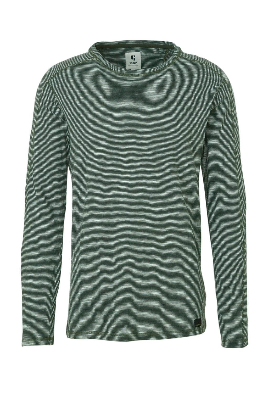 Garcia gestreept T-shirt groen/wit, Groen/wit