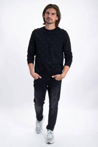 Garcia sweater met all over print zwart/blauw, Zwart/blauw