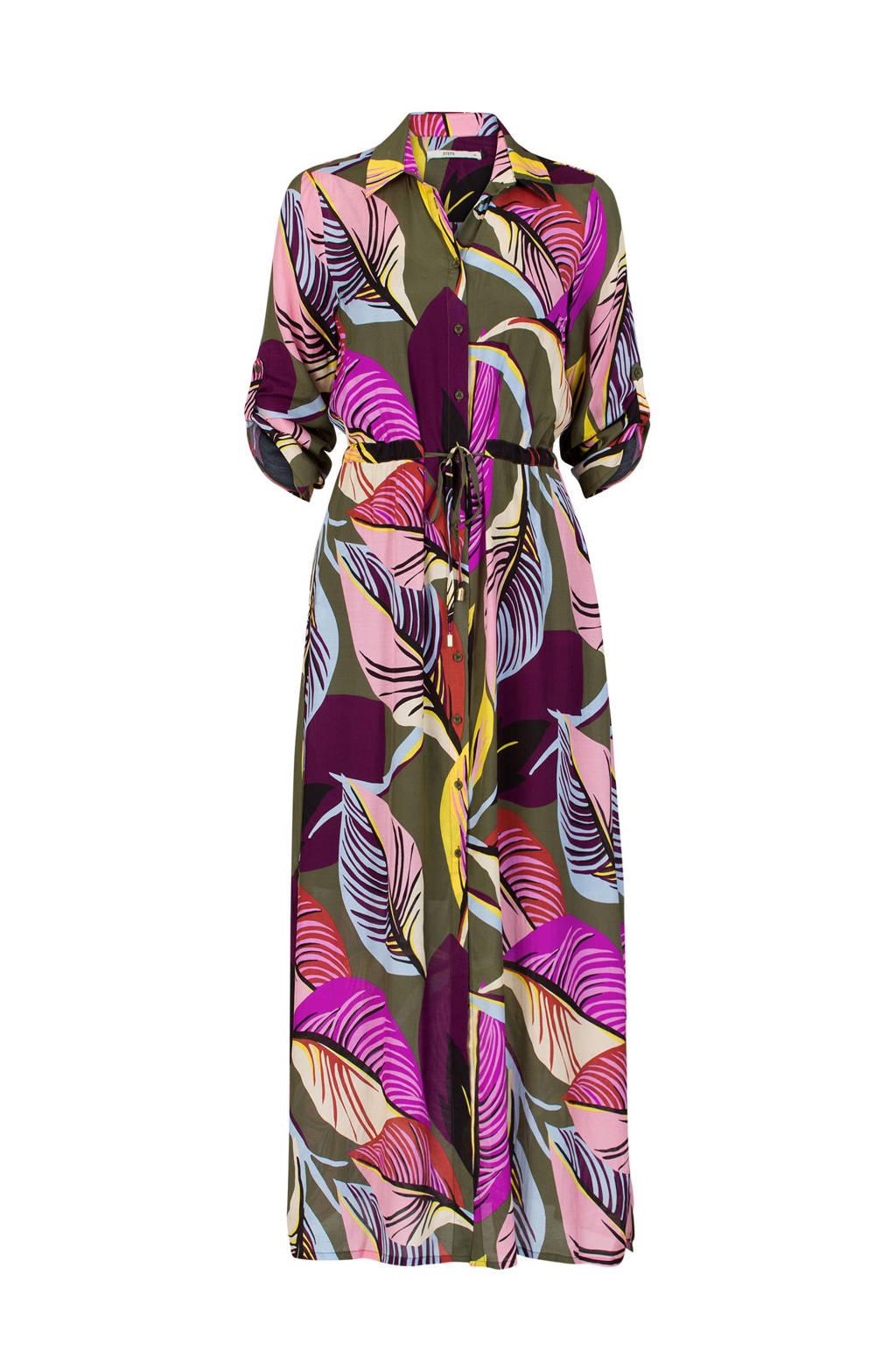 Steps jurk met bladprint donkergroen, Donkergroen
