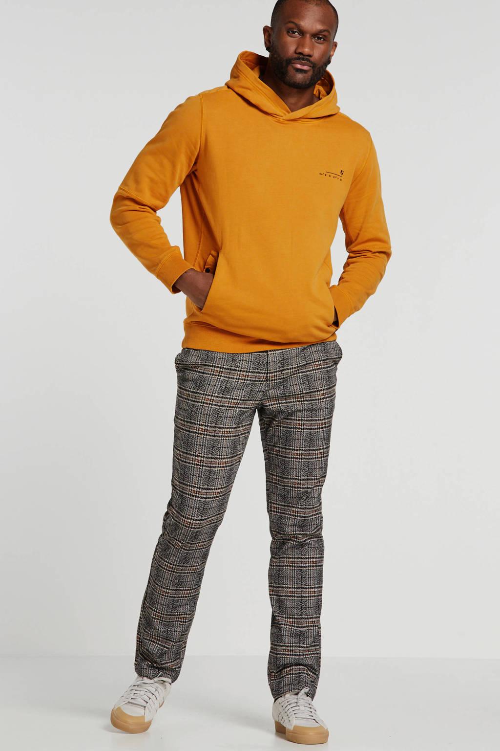 Garcia geruite straight fit pantalon beige, Beige