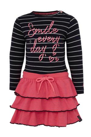 gestreepte jersey jurk roze/ marine