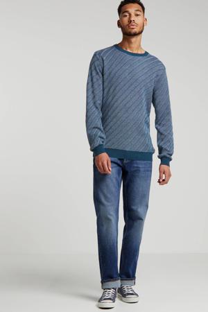 gemêleerde gebreide trui blauw
