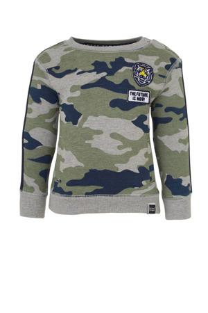 sweater met camouflageprint groen/ grijs emlange/ blauw