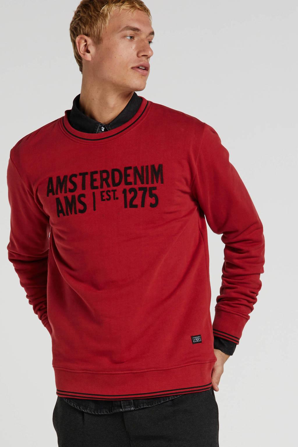 Amsterdenim sweater met tekst rood, Rood