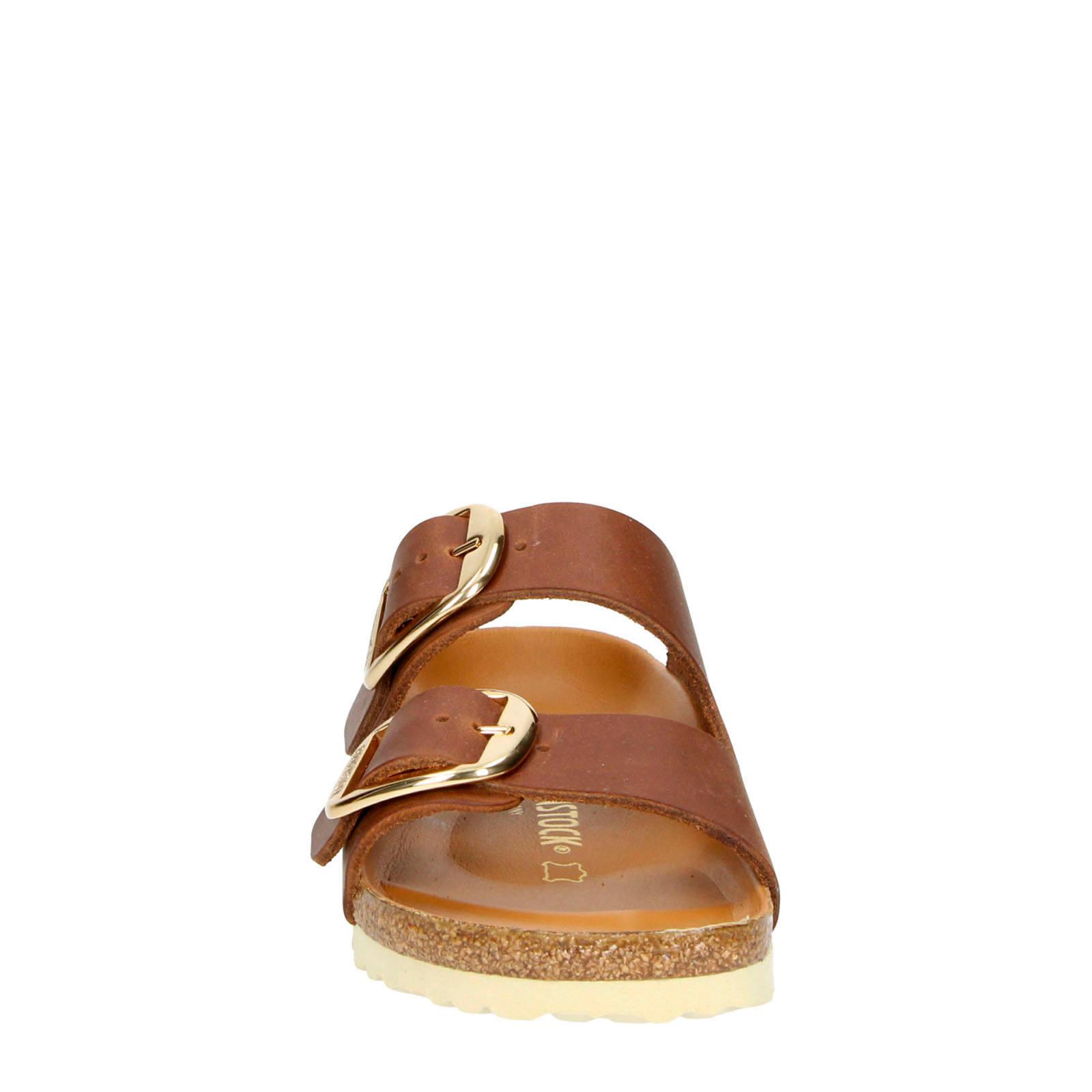 Birkenstock Arizona Big Buckle leren slippers cognac | wehkamp