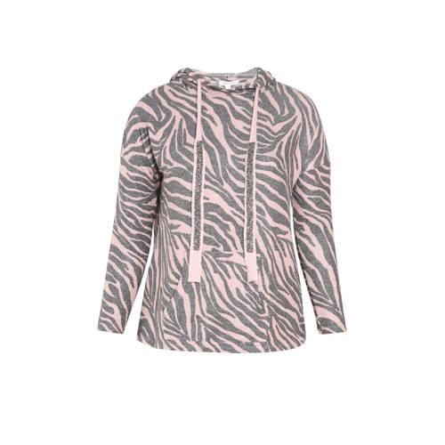 Paprika hoodie met zebraprint roze