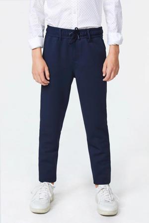 slim fit broek Acer met rib structuur blauw