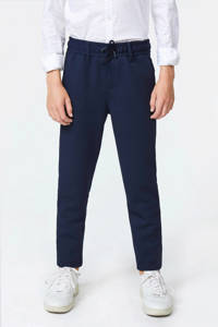 WE Fashion slim fit pantalon Acer met rib structuur blauw, Blauw