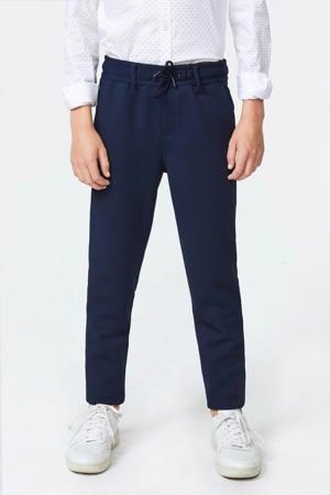 slim fit pantalon Acer met rib structuur blauw