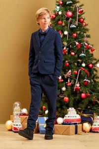 WE Fashion slim fit colbert Acer met rib structuur blauw, Blauw