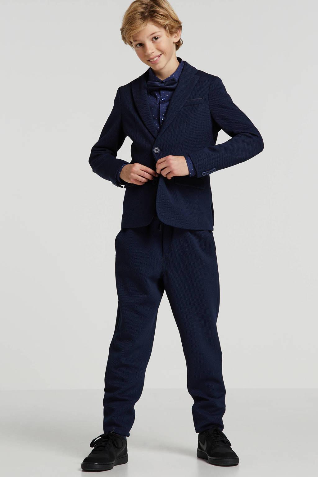 WE Fashion colbert Acer met rib structuur blauw, Blauw