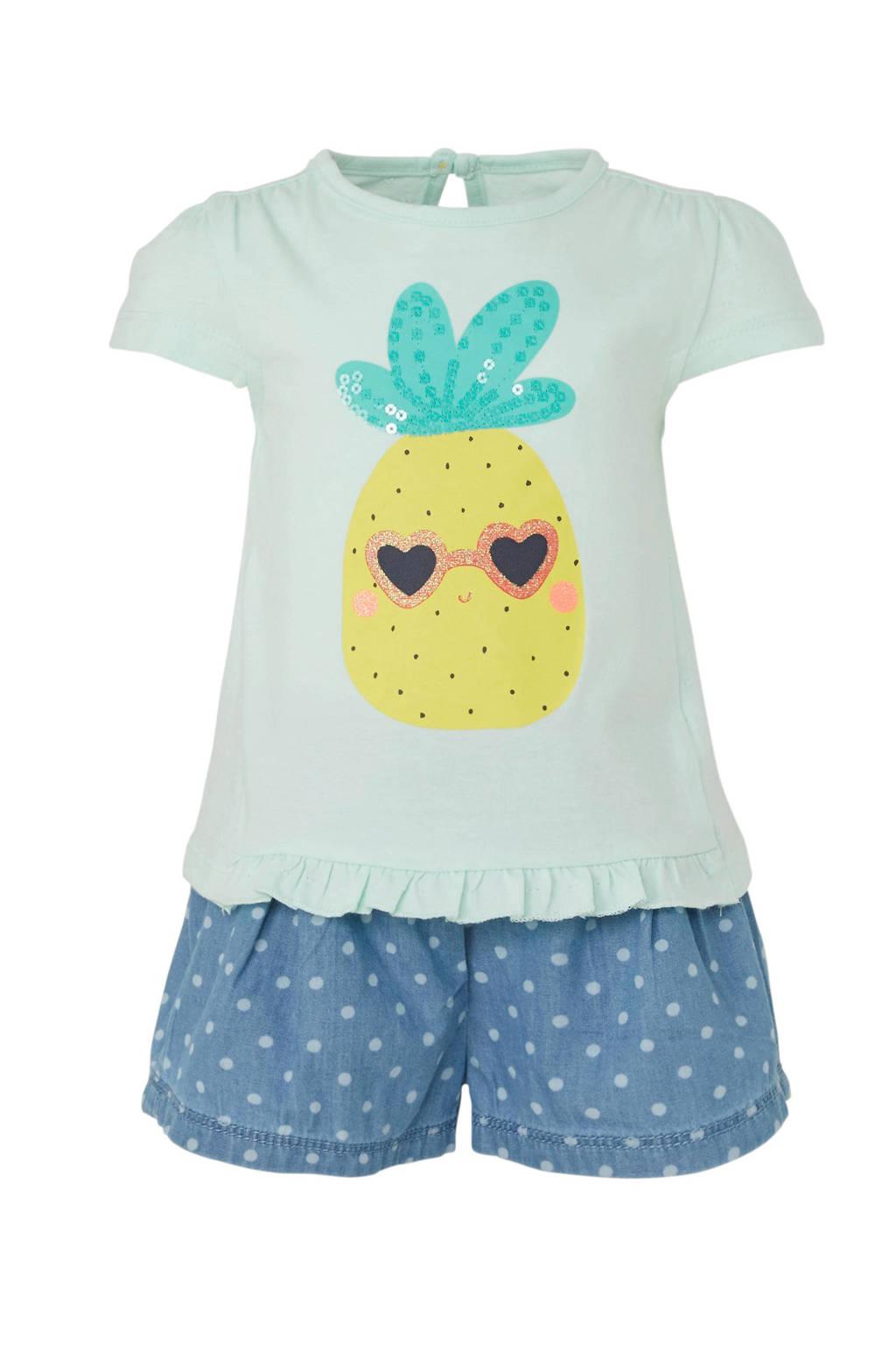 C&A Baby Club T-shirt + short, Mintgroen/blauw