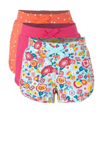 Palomino sweatshort met all over print blauw/roze/oranje