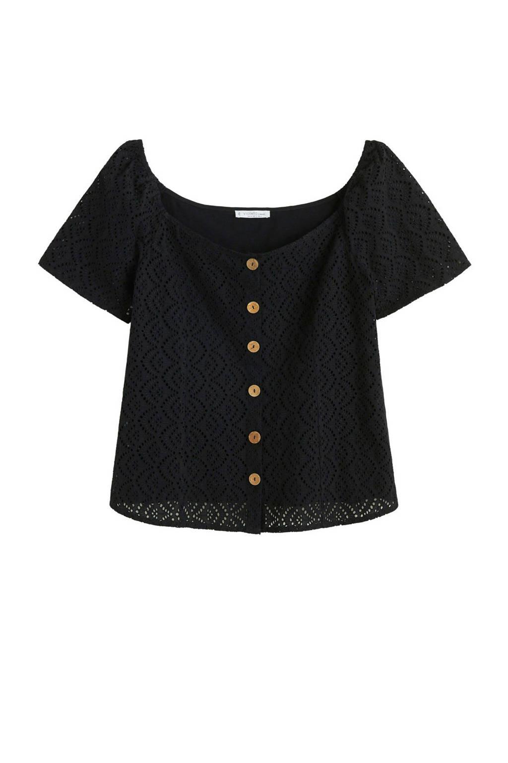 Violeta by Mango opengewerkte off shoulder top zwart, Zwart