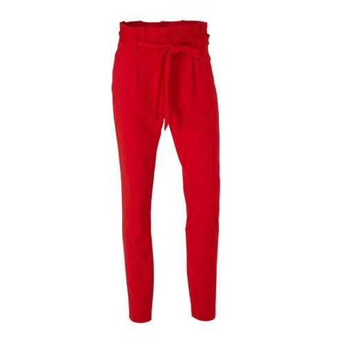 VERO MODA high waist tapered fit broek rood