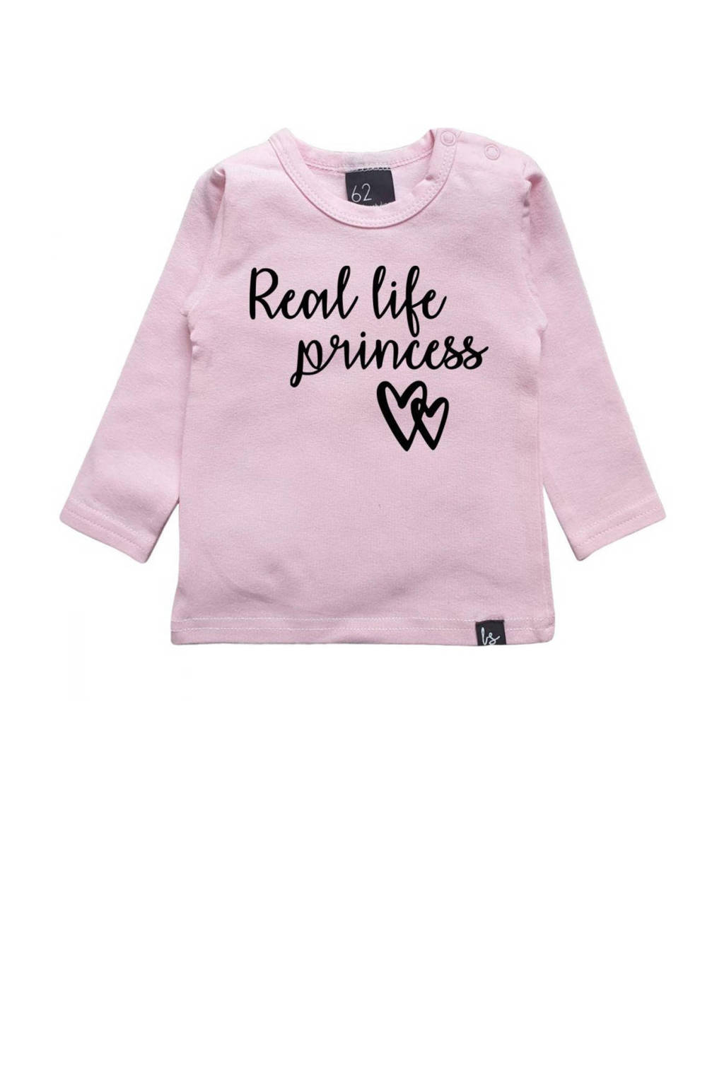 Babystyling longsleeve Real life princess met tekst roze, Roze