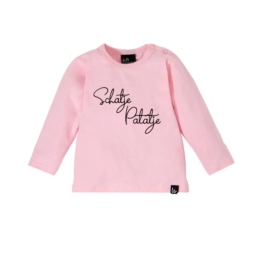 Babystyling longsleeve met tekst roze, Roze/zwart