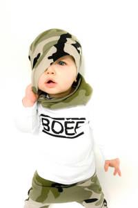 Babystyling baby basic longsleeve met biologisch katoen wit/zwart, Wit/zwart
