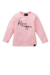 Babystyling longsleeve Klein moppie met tekst roze, Roze