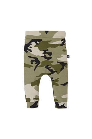 broek met camouflageprint kaki/zwart