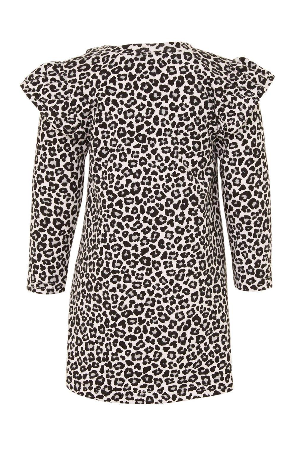 Babystyling jurk met panterprint wit, Wit/zwart