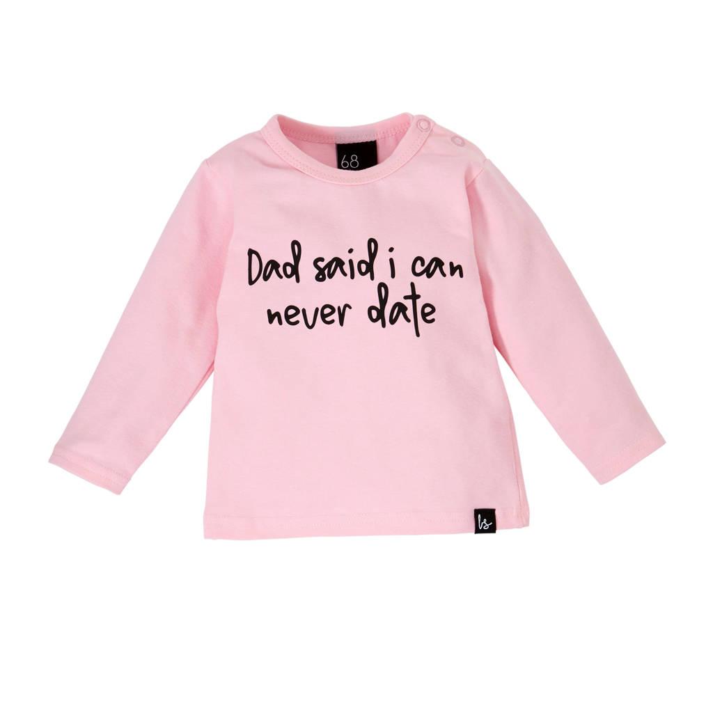 Babystyling longsleeve met tekst roze/zwart, Roze/zwart