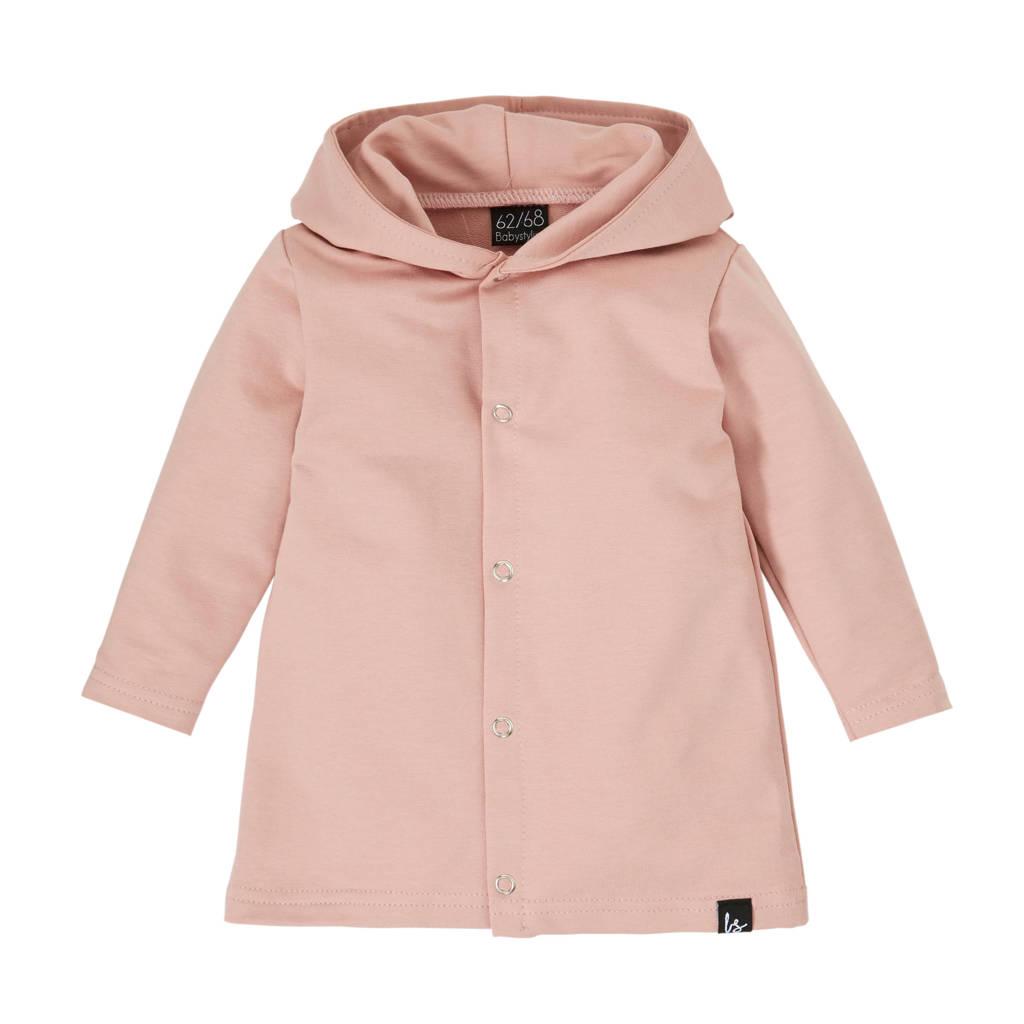 Babystyling vest met capuchon roze, Oudroze