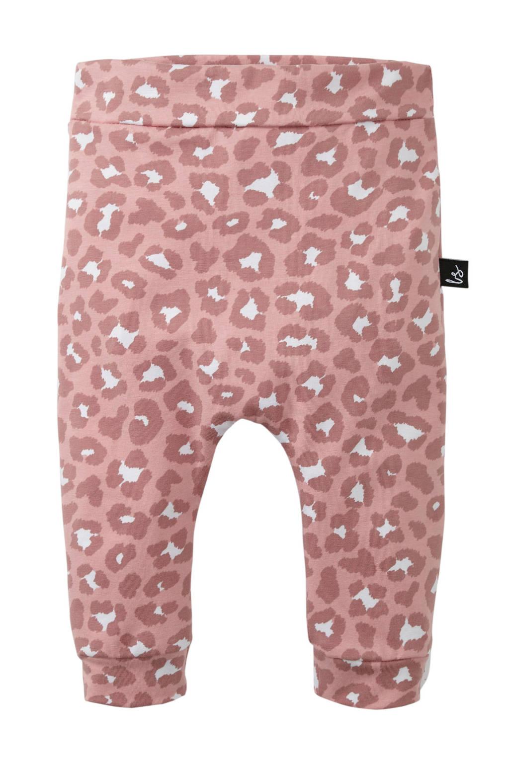 Babystyling broek met panterprint roze, Roze