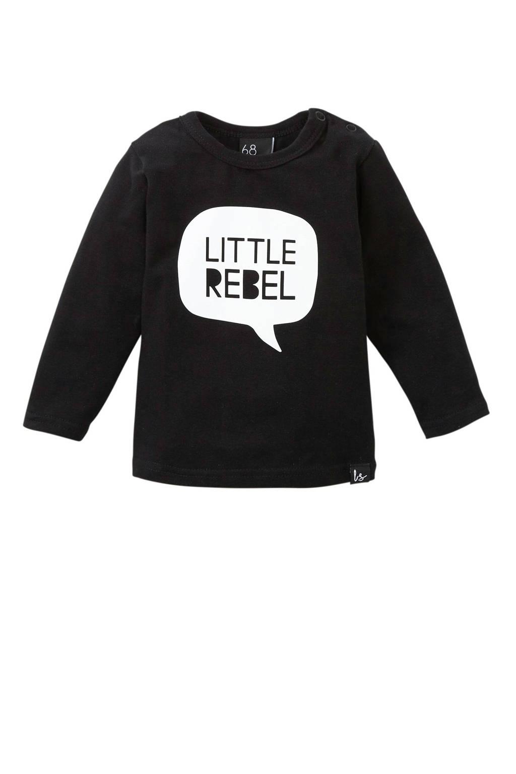 Babystyling longsleeve Little rebel zwart, Zwart