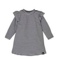 Babystyling gestreepte jurk met biologisch katoen zwart/wit, Zwart/wit