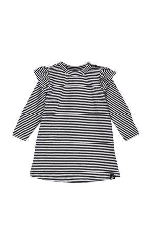 gestreepte jurk met biologisch katoen zwart/wit