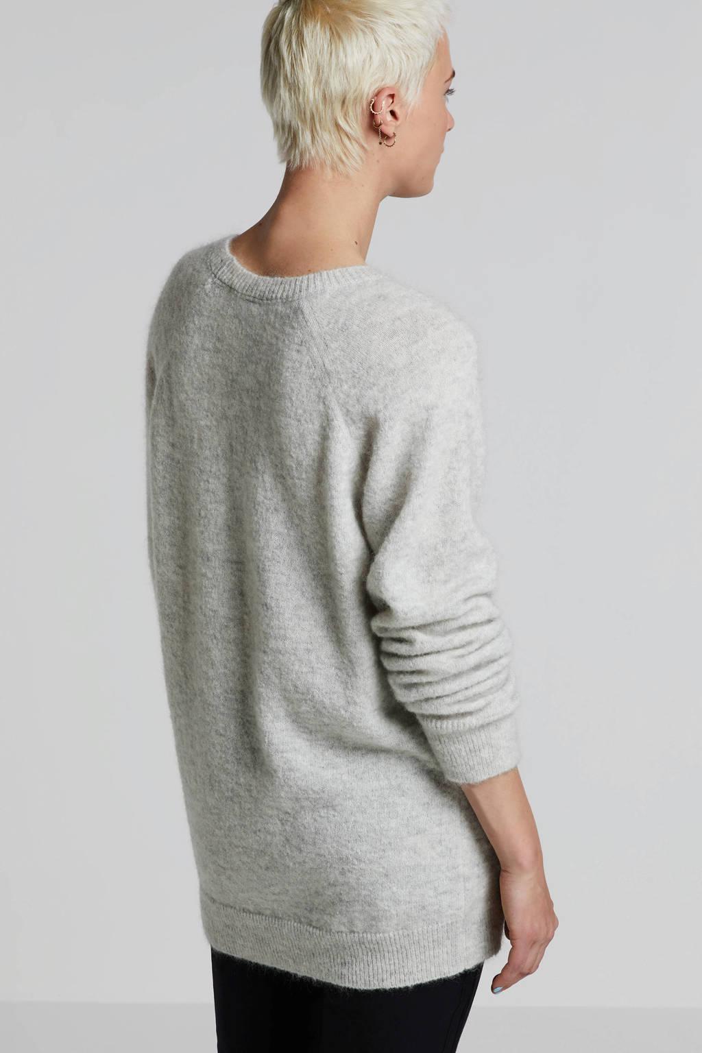 10DAYS geruite trui met wol grijs, Grijs