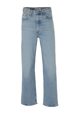 Ribcage cropped high waist straight fit jeans lichtblauw