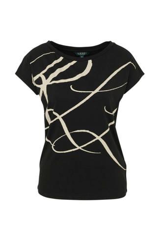 T-shirt Grieta met all over print zwart/beige