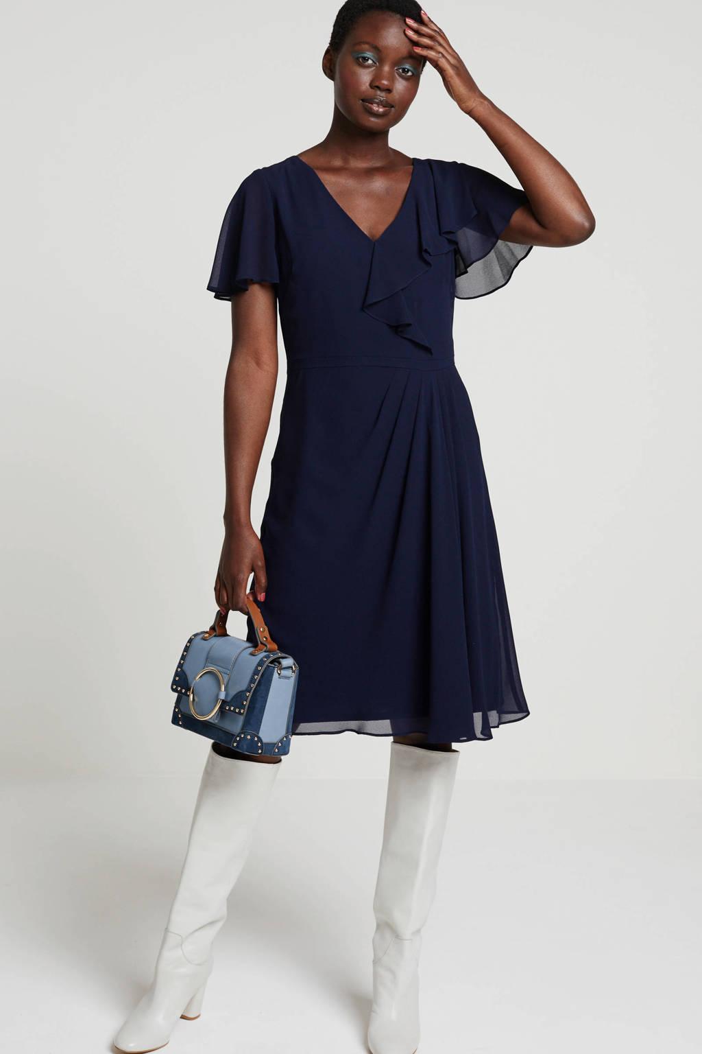 Lauren Ralph Lauren Cutler jurk donkerblauw met volant en plooi detail, Donkerblauw