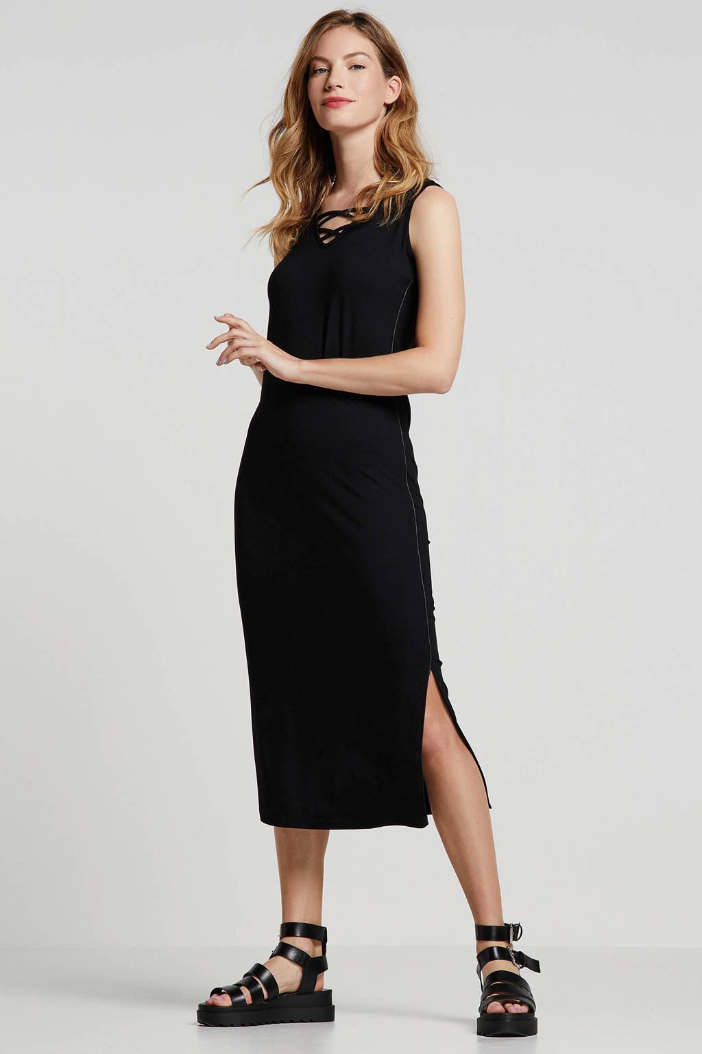 Tramontana jurk met sierbandjes zwart, Zwart