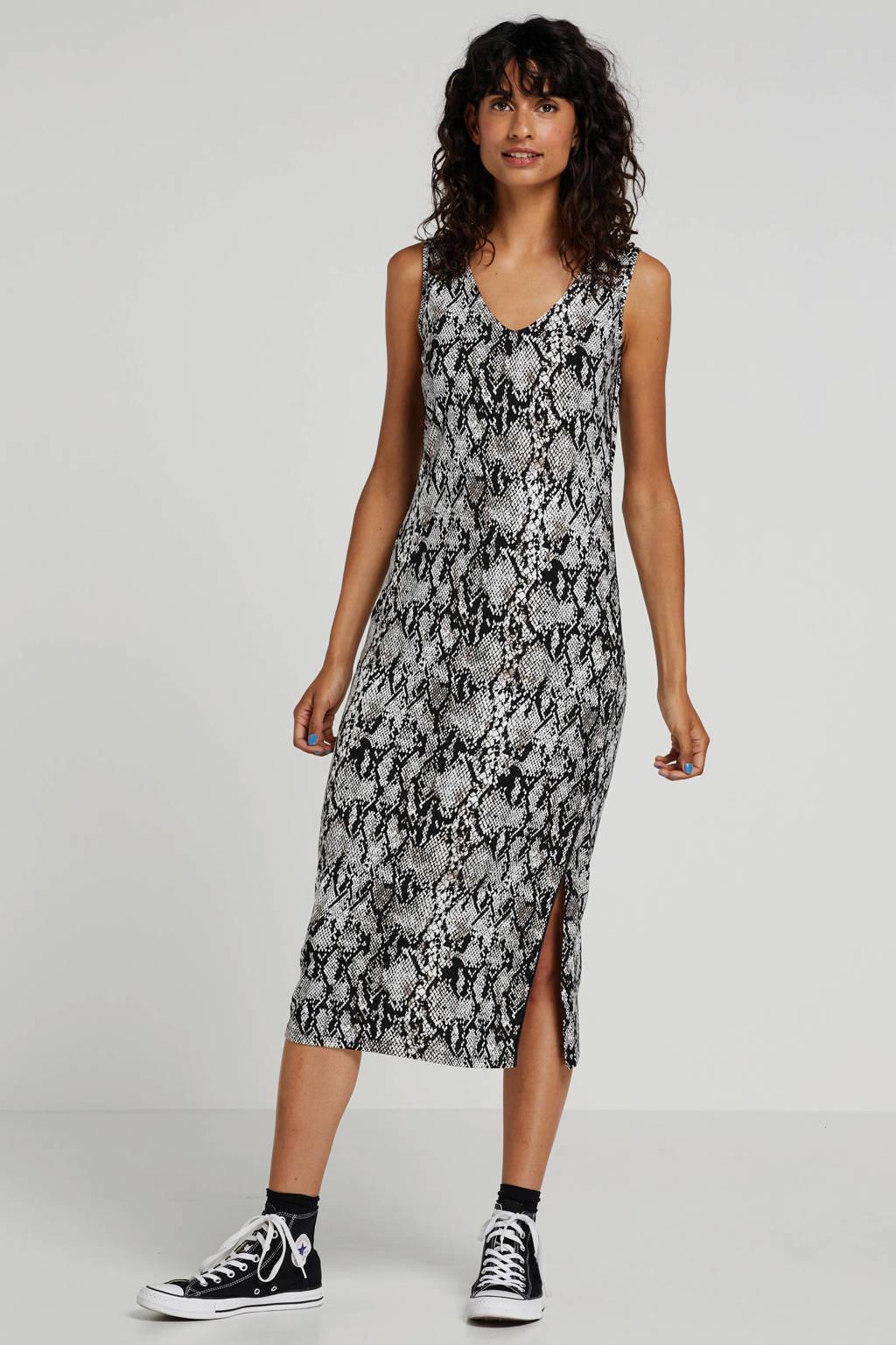 Tramontana jurk met slangenprint en split, Zwart/wit