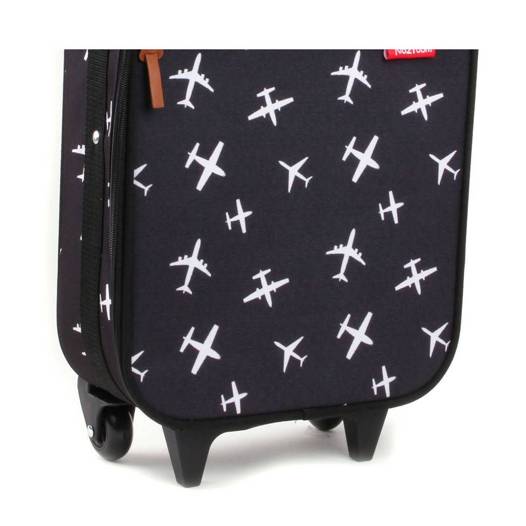 Kidzroom trolley zwart met vliegtuigprint, Zwart met witte vliegtuigjes