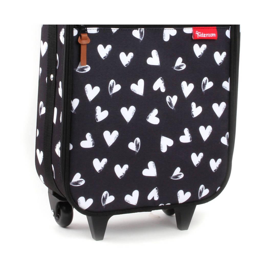 Kidzroom trolley zwart met hartjes, Zwart met witte hartjes
