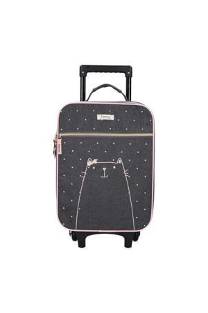 trolley zwart met roze stippen