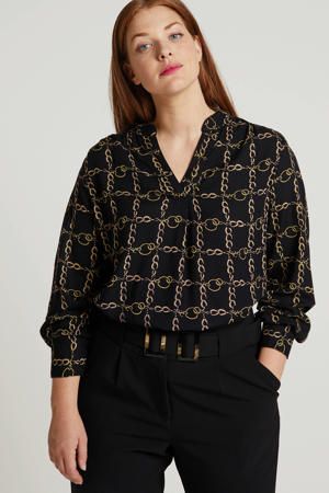 top met all over print zwart