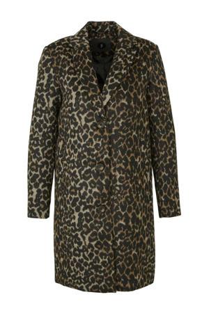 coat met panterprint zwart,bruin