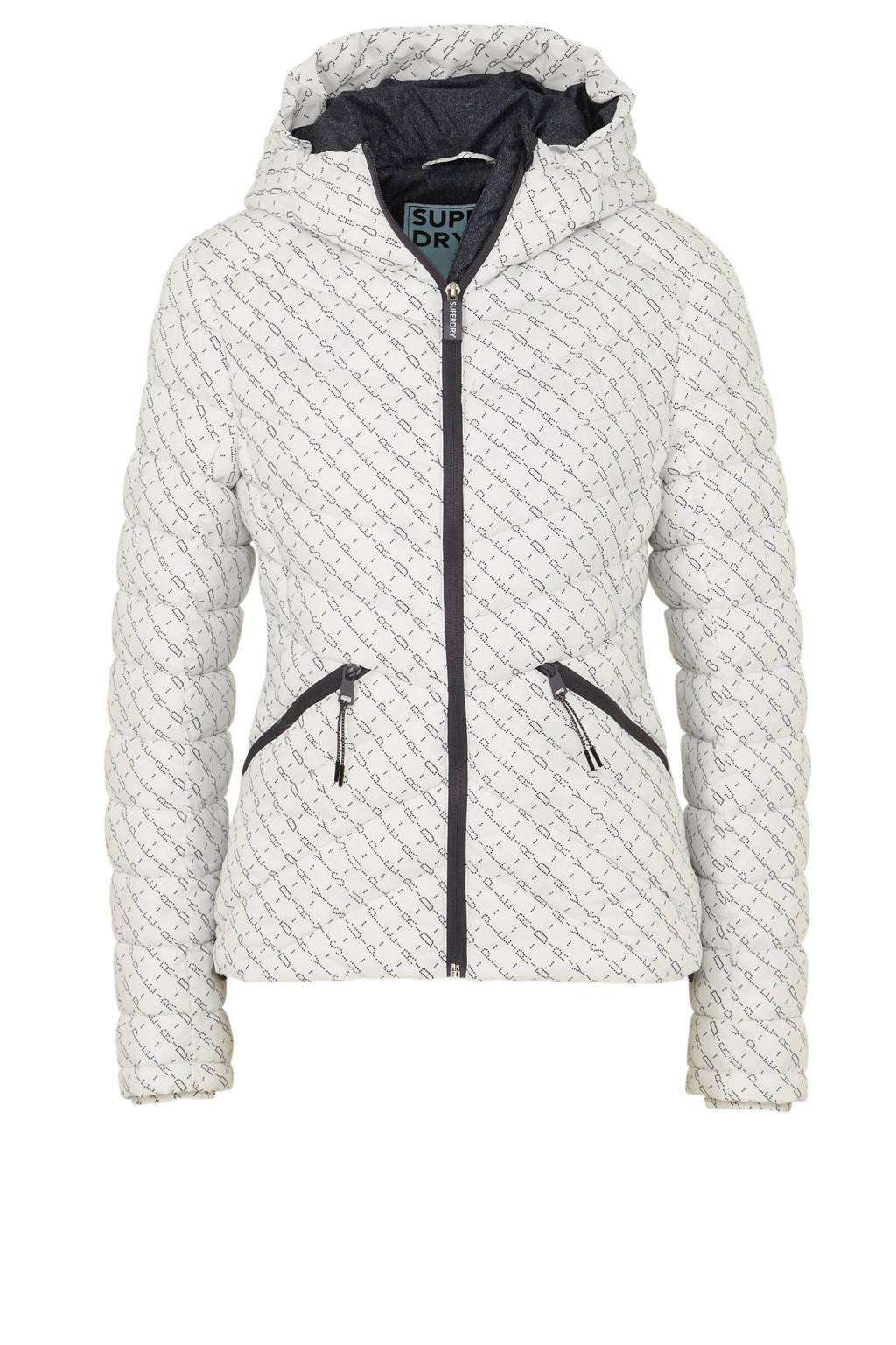 Superdry jas met tekstopdruk, Wit/zwart