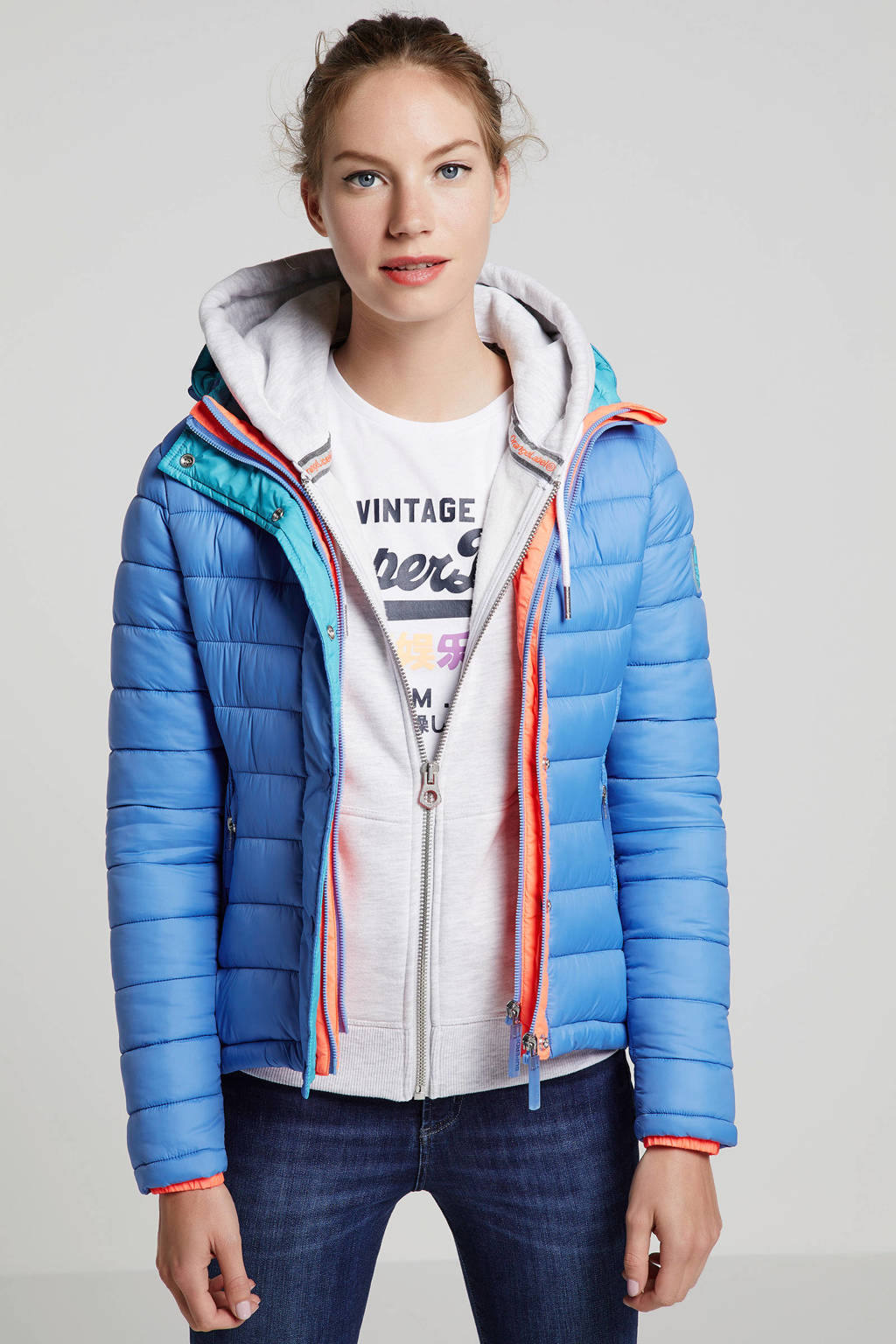 Superdry gewatteerde jas blauw, Blauw/oranje