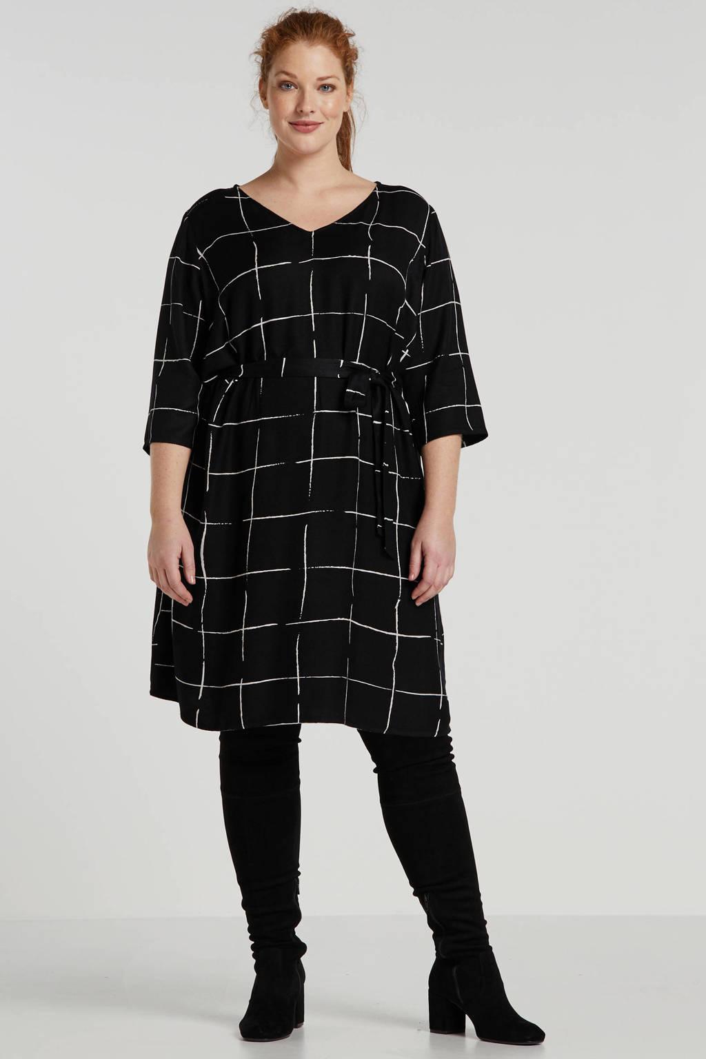 JUNAROSE geruite jurk zwart/wit, Zwart/wit
